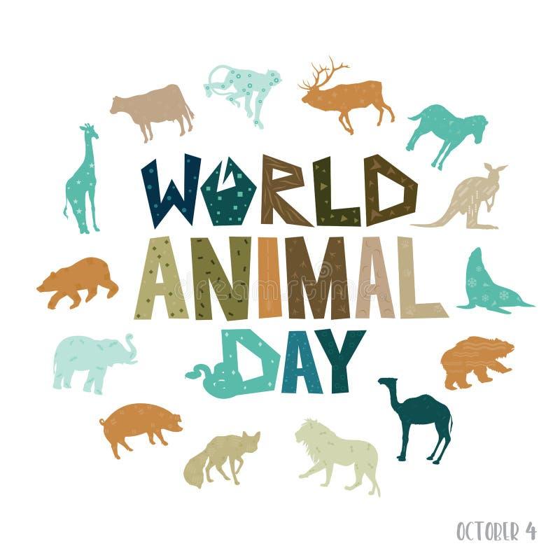 Uma ilustração abstrata do dia do animal do mundo ilustração stock