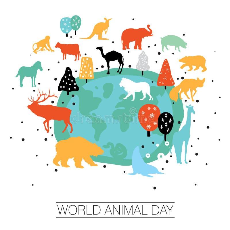 Uma ilustração abstrata do vetor do dia do animal do mundo ilustração do vetor