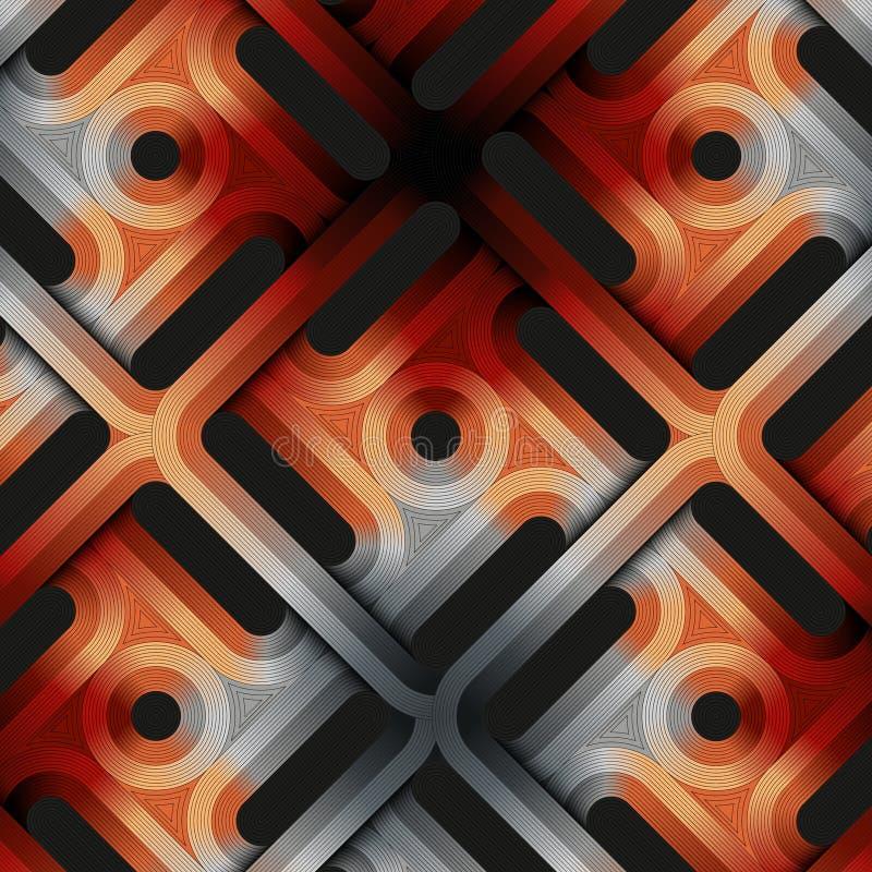 Uma ilustração abstrata que combine a geometria e a arte Um projeto complexo que consista em formas, em cores e no graduado simpl ilustração do vetor