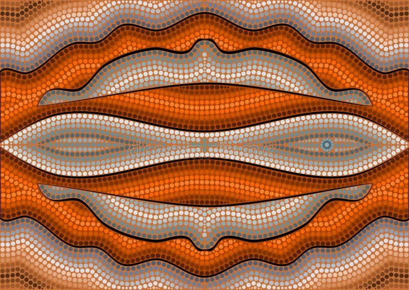 Uma ilustração baseada no estilo aborígene do depicti da pintura do ponto ilustração stock