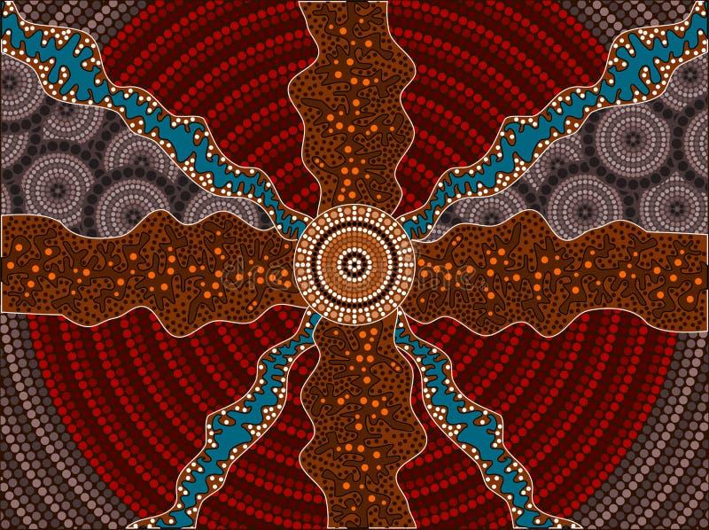 Uma ilustração baseada no estilo aborígene do depicti da pintura do ponto ilustração royalty free