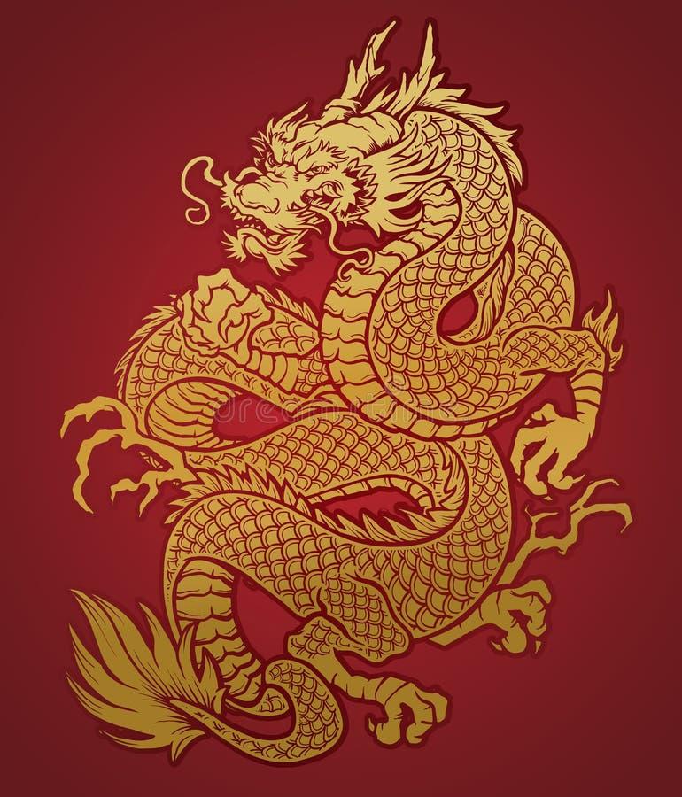 Ouro chinês Coiled do dragão no vermelho ilustração stock