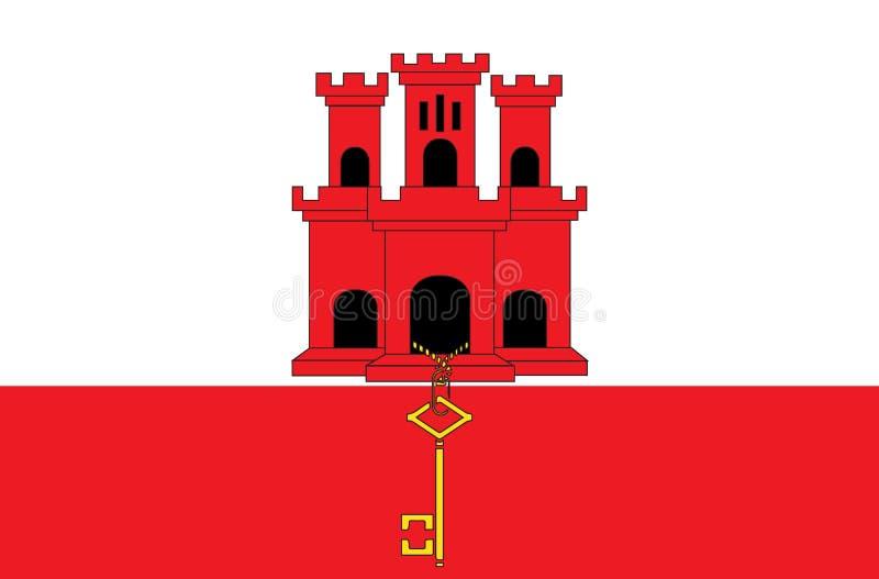 Uma ilustração da bandeira do país de Gibraltar fotografia de stock royalty free