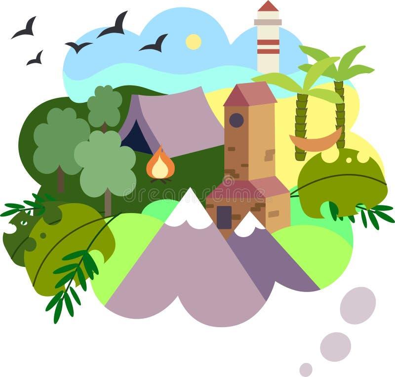 Uma ilustração da viagem ideal ilustração stock