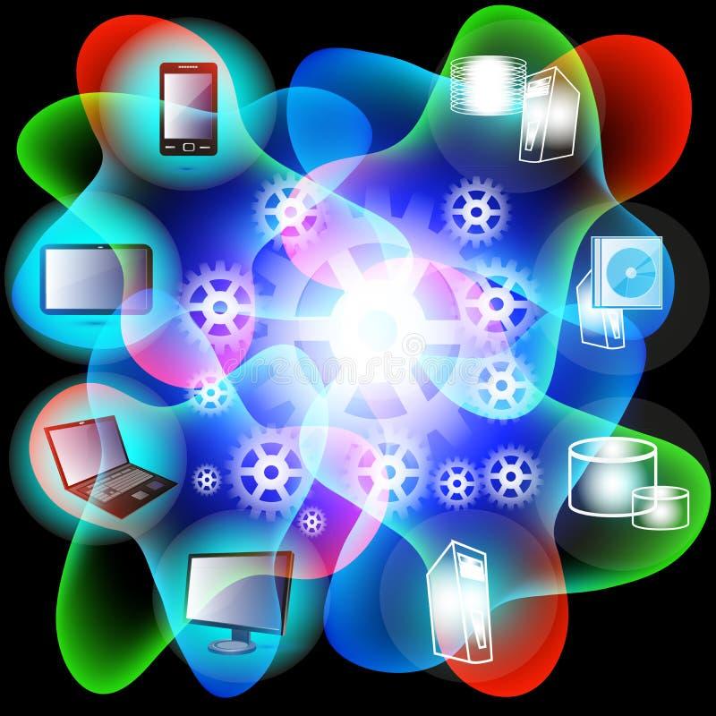 Rede de computação da nuvem ilustração royalty free