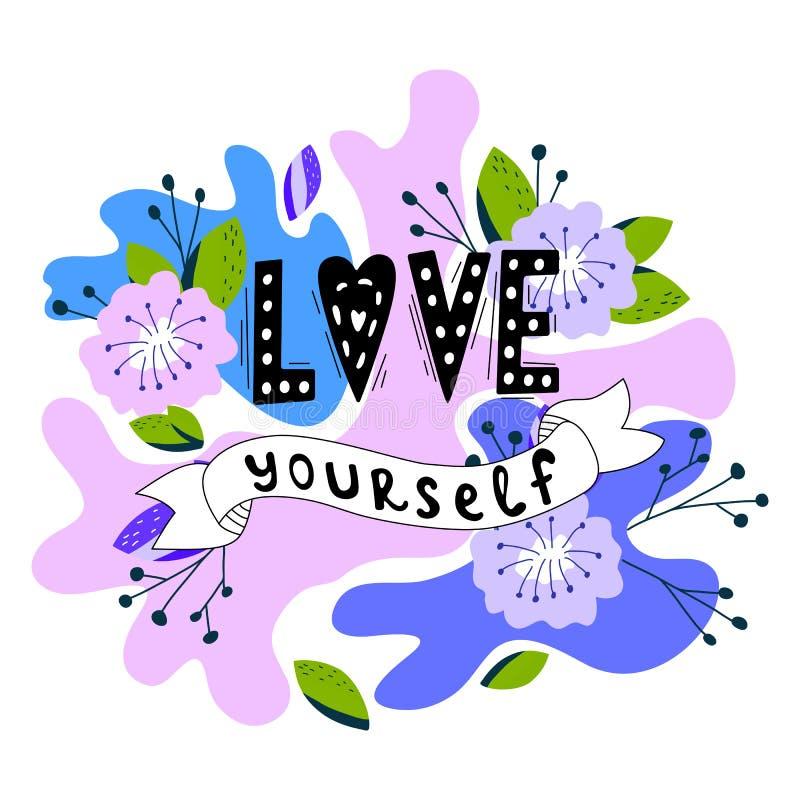 Uma ilustração desenhada à mão, com uma carta, ama-se a si mesmo. Citação feminista feita em vetor Slogan motivacional da mulher ilustração stock
