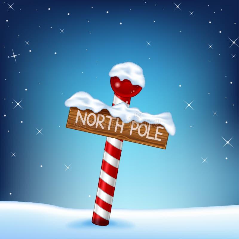 Uma ilustração do Natal de um sinal de madeira do Polo Norte ilustração royalty free