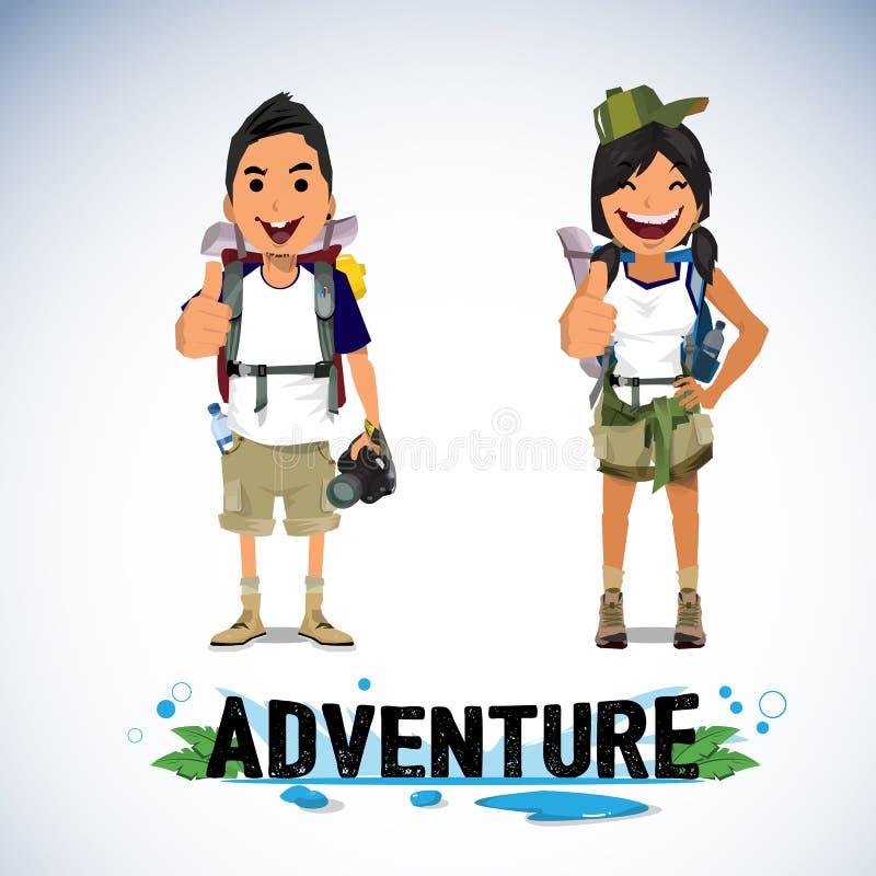 Uma ilustração do turismo da aventura - menino e menina ilustração do vetor