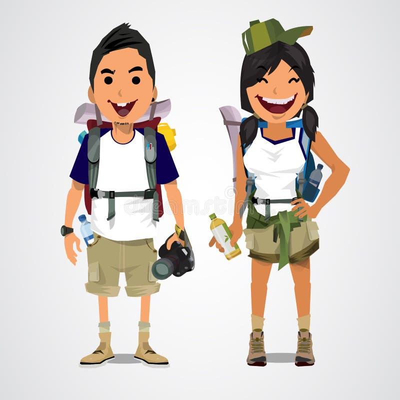 Uma ilustração do turismo da aventura - menino e menina - vect ilustração do vetor