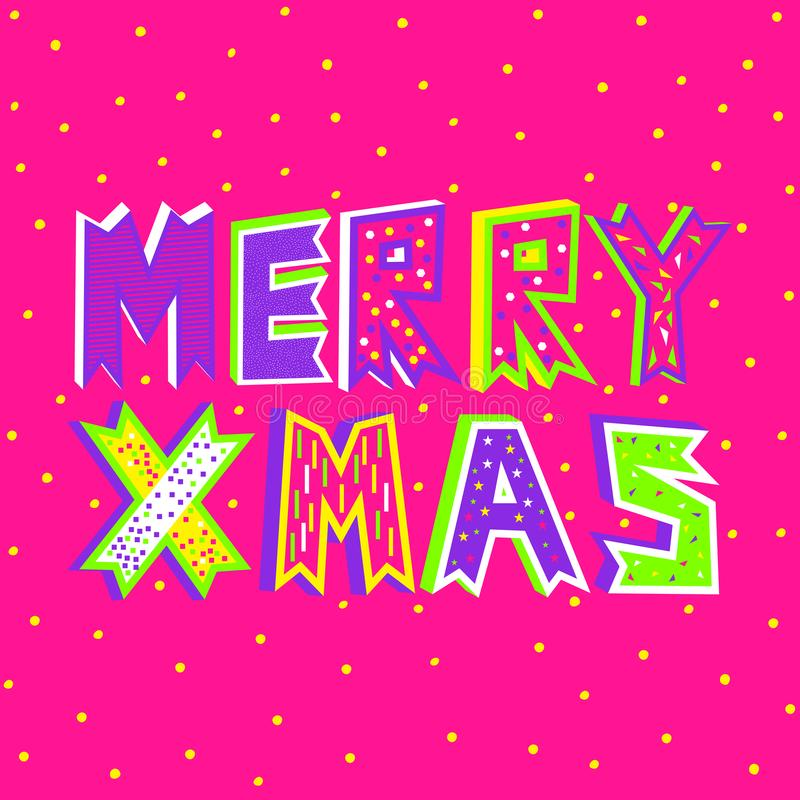 Uma ilustração do vetor da tipografia do Feliz Natal no rosa plástico ilustração stock