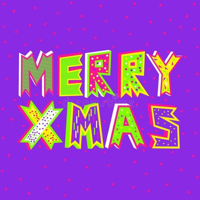 Uma ilustração do vetor da tipografia do Feliz Natal no roxo do protão ilustração do vetor