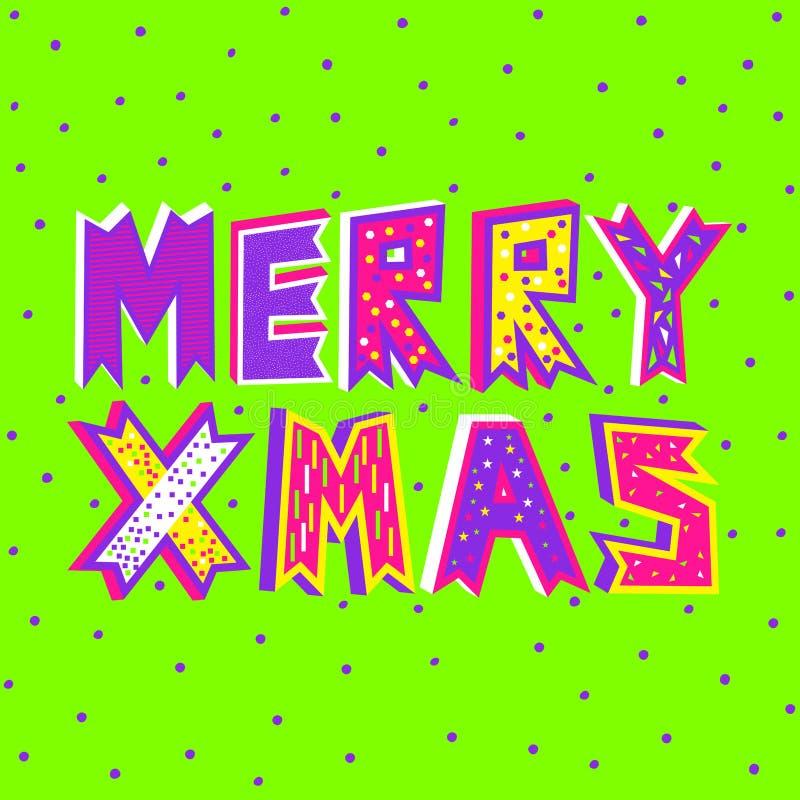 Uma ilustração do vetor da tipografia do Feliz Natal no verde do UFO ilustração stock