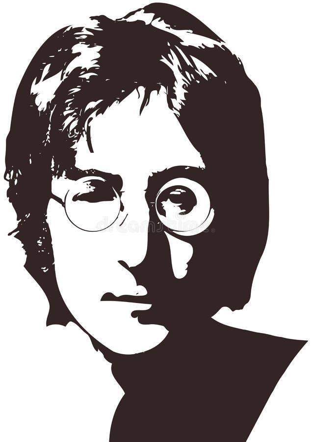 Uma ilustração do vetor de um retrato do cantor John Lennon em um fundo branco A4 formato, Eps 10 em camadas ilustração royalty free
