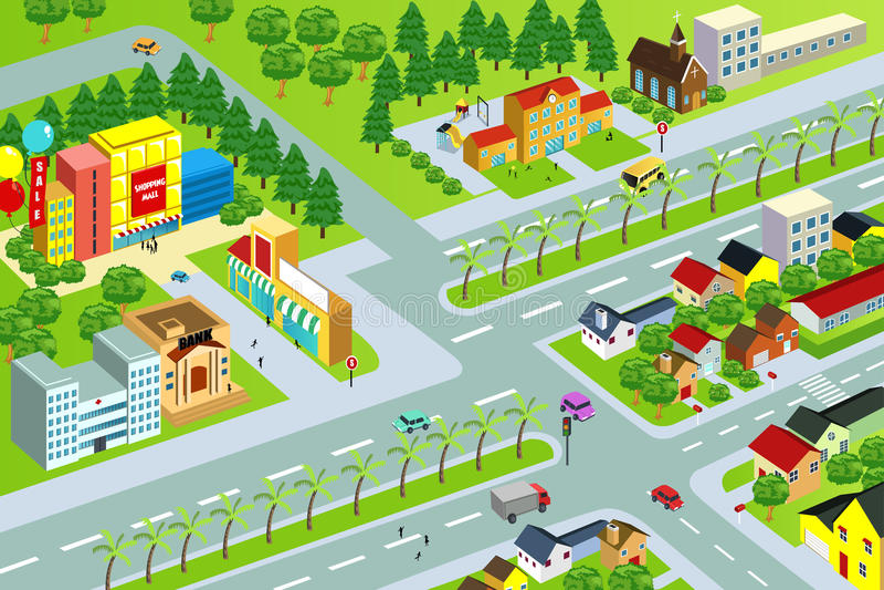 Mapa da cidade ilustração stock