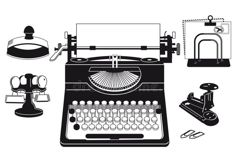 Materiais de escritório e máquina de escrever ilustração do vetor