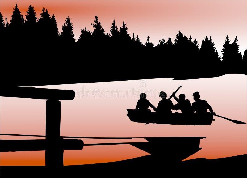 Uma ilustração dos turistas com a canoa no lago fotos de stock royalty free