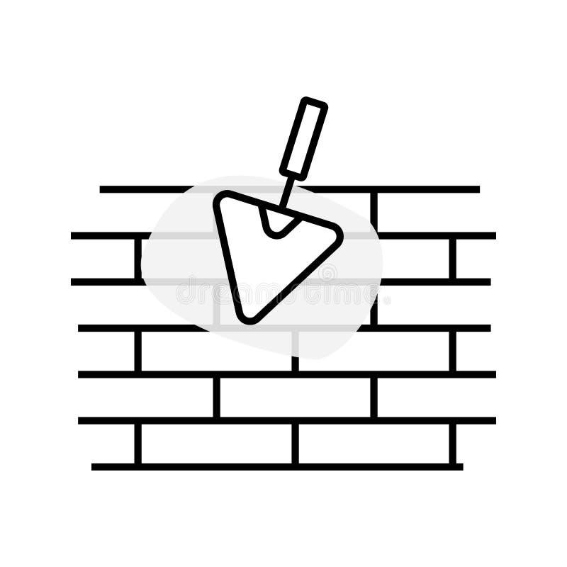 Uma ilustração linear simples de uma parede de tijolo desigual, uma pá de pedreiro da construção e um cimento mancham, uma linha  ilustração royalty free