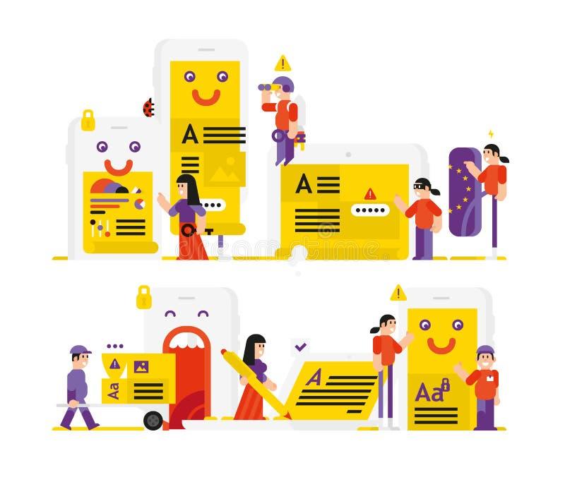 Uma ilustração no assunto das regras gerais para a proteção de dados GDPR Regulamento geral da proteção de dados Vetor liso ilustração stock