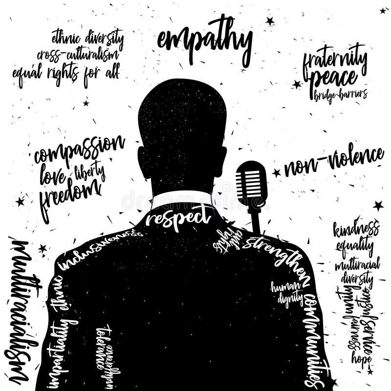 Uma ilustração traseira da silhueta da opinião do vetor no preto com arte finala da tipografia no preto ilustração stock