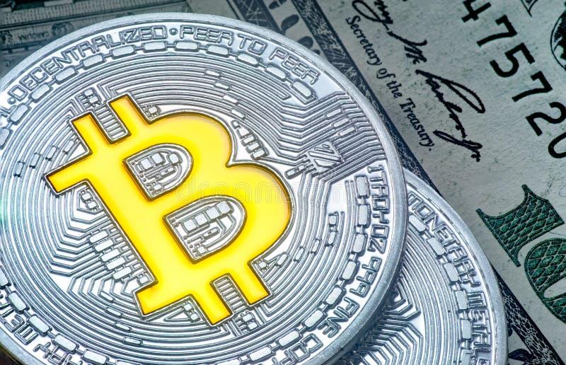 Uma imagem bonita da moeda do bitcoin imagem de stock