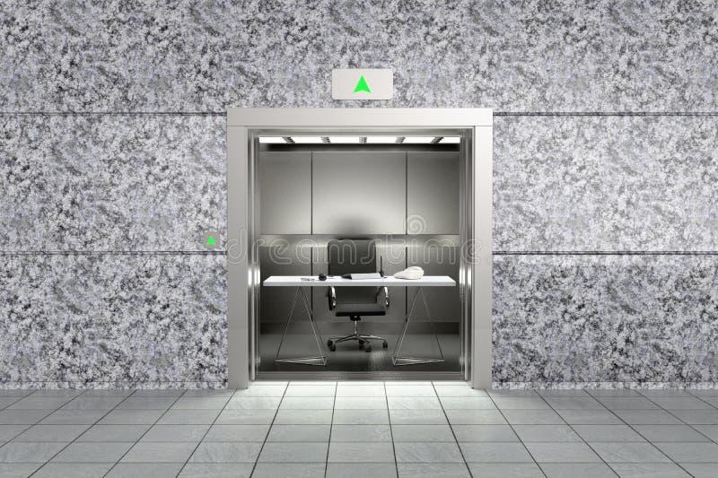 Uma imagem conceptual que representa o sucesso do proffessional com um escritório dentro de um elevador que vai acima ilustração stock