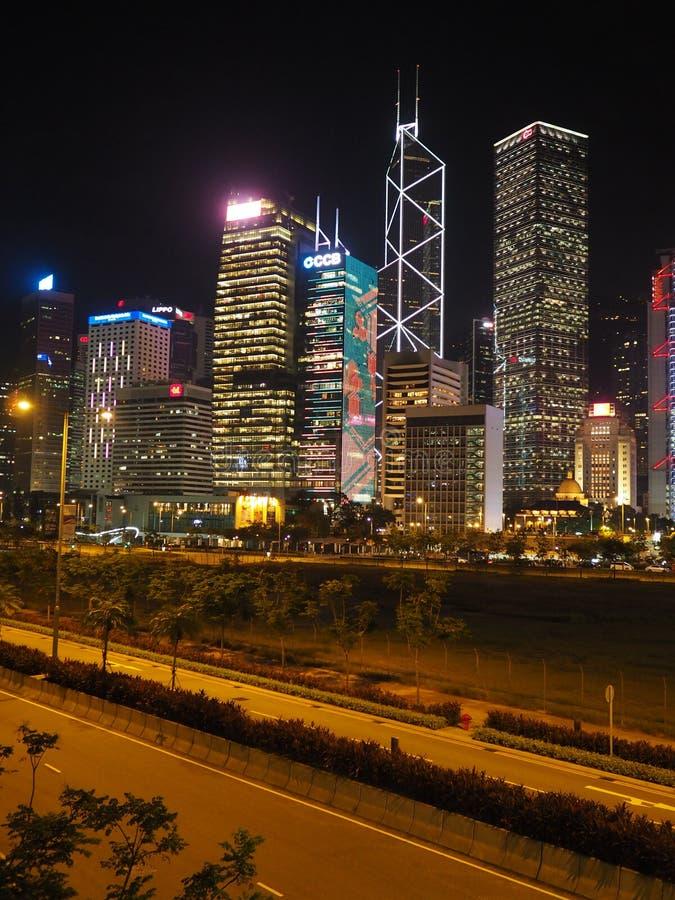Uma imagem da skyline de Hong Kong tomada do homem Yiu Street imagem de stock royalty free