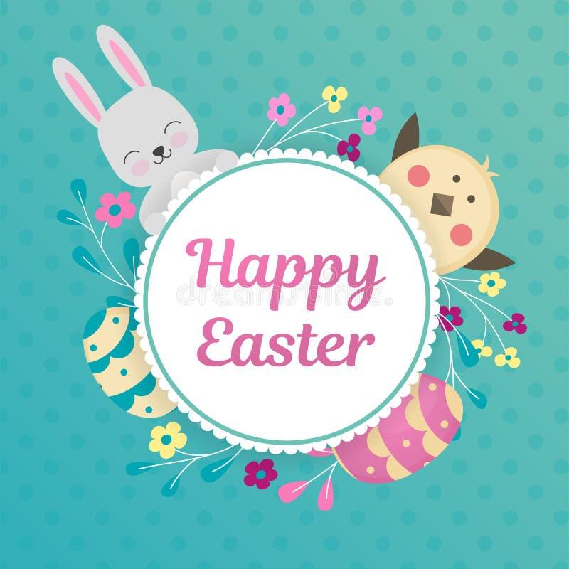Uma imagem de um coelho e um pintainho olham para fora atrás de um círculo com bordas a céu aberto Quadro com flores e lugar para ilustração royalty free