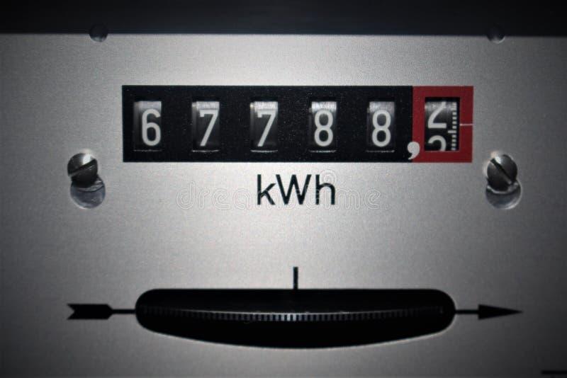 Uma imagem de um contador da eletricidade, energia imagens de stock royalty free