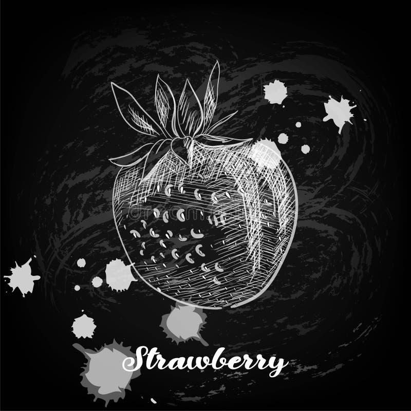 Uma imagem de um giz da morango em um quadro-negro ilustração royalty free
