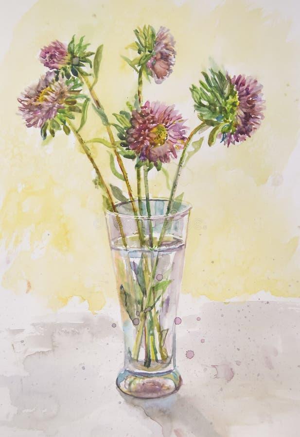 Uma imagem delicada de flores bonitas um áster em um vidro foto de stock royalty free