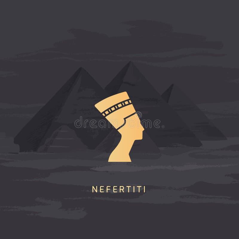 Uma imagem do ícone do vetor da rainha do perfil de Egito Nefertiti isolada em um fundo ilustração stock