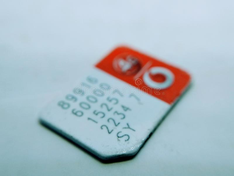Uma imagem do cartão móvel de Sim isolado no fundo branco imagens de stock royalty free