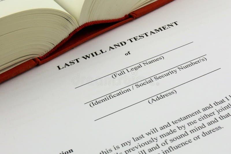 Uma imagem do conceito de um último e testamento imagens de stock