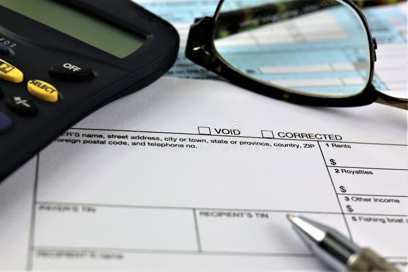 Uma imagem do conceito de um formulário de declaração de rendimentos fotografia de stock royalty free