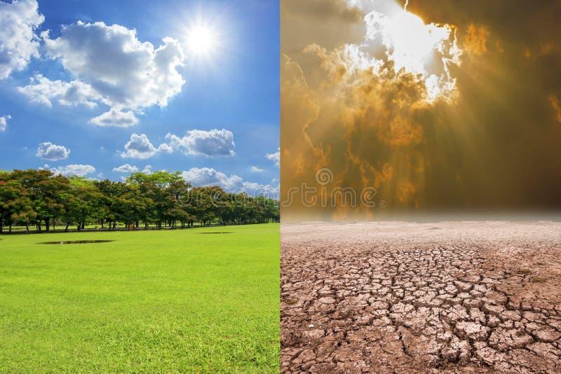 Uma imagem do conceito do aquecimento global que mostra o efeito da poluição a imagem de stock