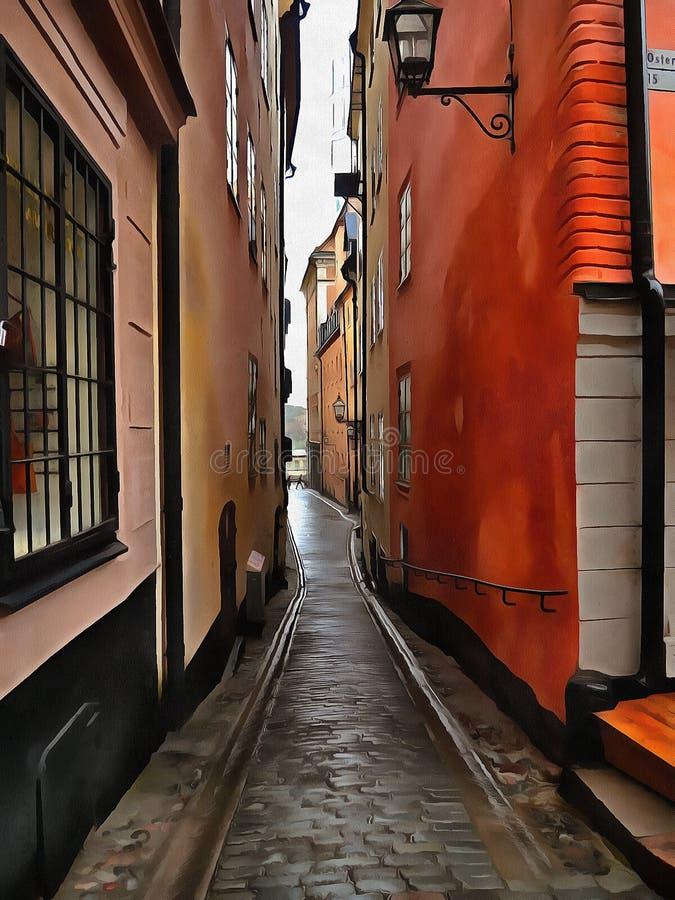 Uma imagem estilizado da rua muito estreita em Éstocolmo velha Gamla Stan ilustração royalty free