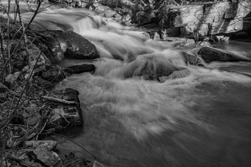 Uma imagem preto e branco de uma cachoeira nas montanhas de Virgínia, EUA imagem de stock