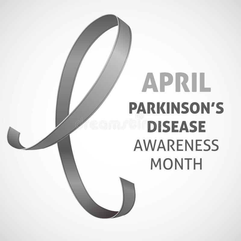 Uma imagem quadrada do vetor com uma fita cinzenta como um símbolo da conscientização da doença de Parkinson Um dia da doença de  ilustração royalty free