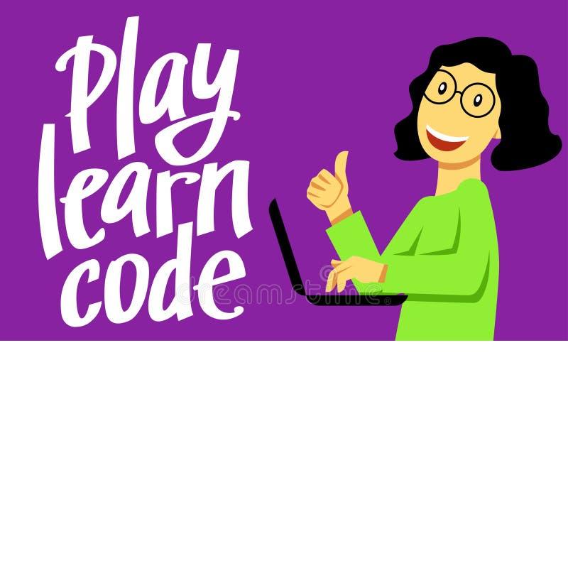 Uma imagem quadrada do vetor da menina que estuda a codificação Uma imagem para um inseto ou um cartaz para as crianças que codif ilustração do vetor