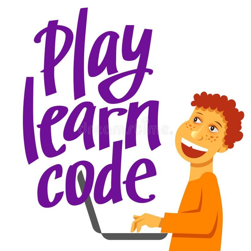 Uma imagem quadrada do vetor do menino que estuda a codificação Uma imagem para um inseto ou um cartaz para as crianças que codif ilustração stock