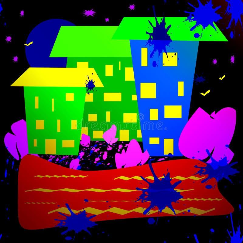 Uma imagem simples de uma cidade da noite ilustração royalty free