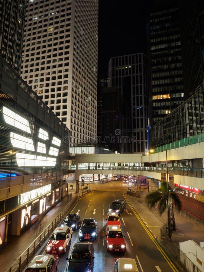 Uma imagem tomada na noite do lugar de Connaught em Hong Kong fotos de stock