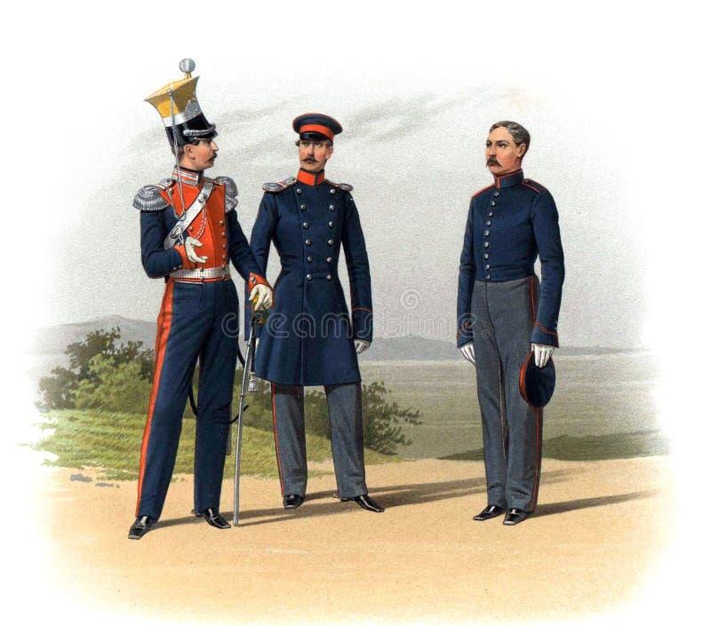 Uma imagem velha dos oficiais e dos soldados do império de russo ilustração royalty free