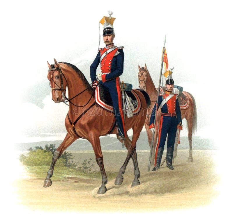 Uma imagem velha dos oficiais e dos soldados do império de russo ilustração do vetor