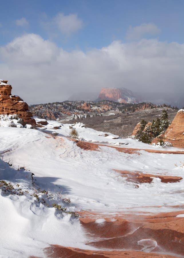 Uma imagem vertical da neve windblown e em torno dos azarentos em um lugar pequeno em Utá do sul chamou a cidade de Azarento imagem de stock