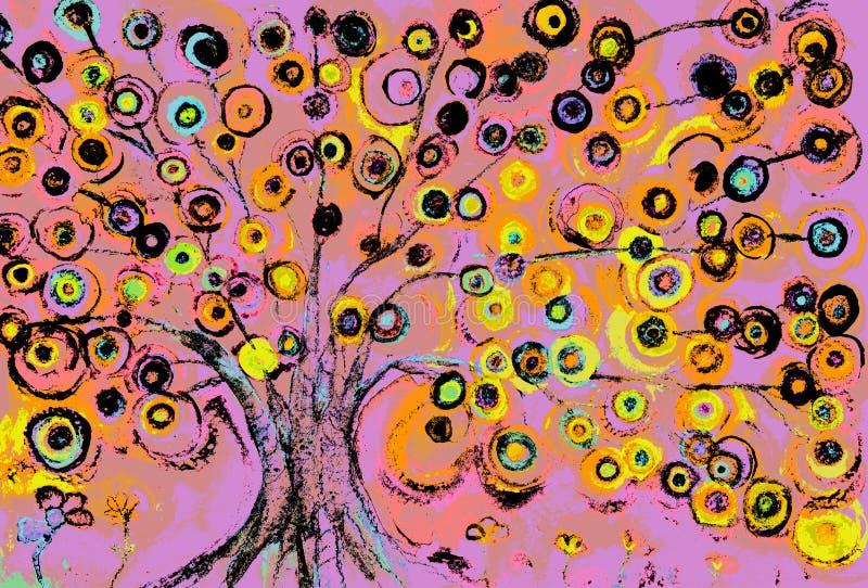 Uma impressão do pop art dos pirulitos que crescem em uma árvore no dia ilustração do vetor