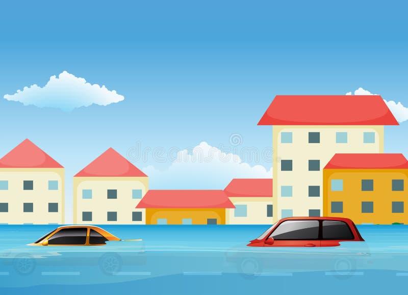 Uma inundação na cidade ilustração royalty free