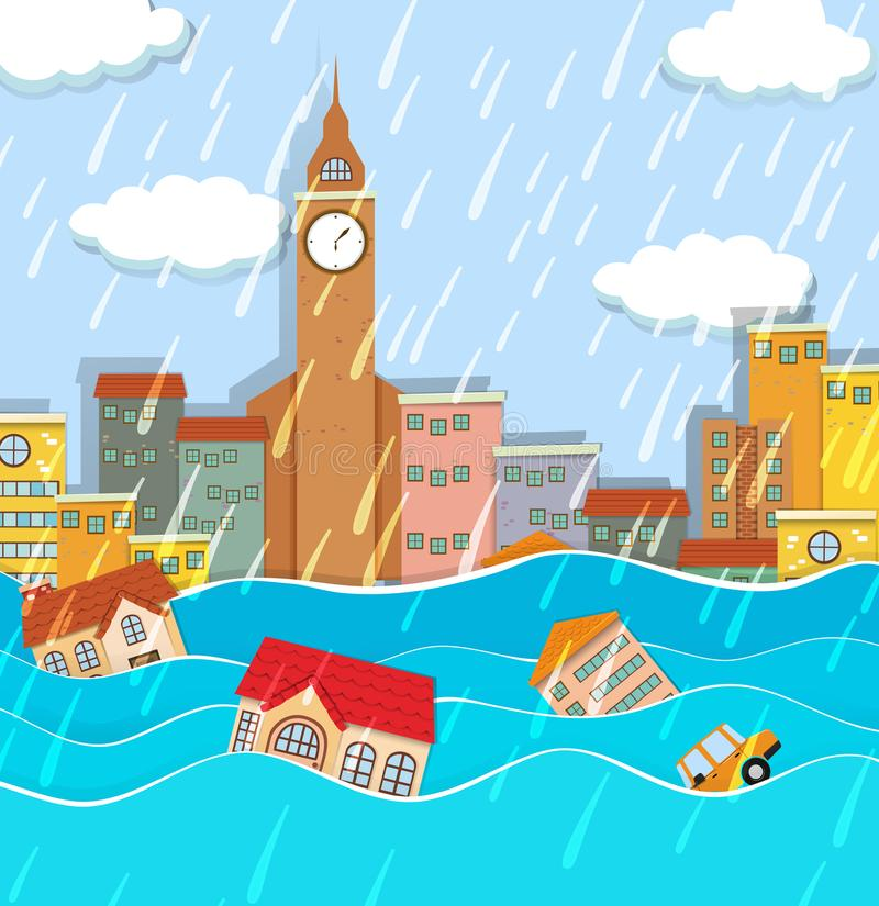 Uma inundação na cidade grande ilustração do vetor