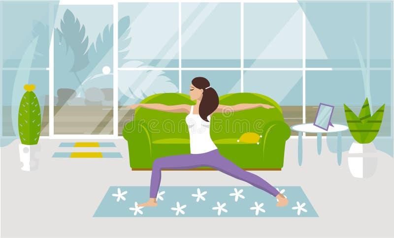 Uma ioga das práticas da menina da ilustração A do vetor em uma pose da guerra em casa, em uma sala de visitas acolhedor Projeto  ilustração do vetor