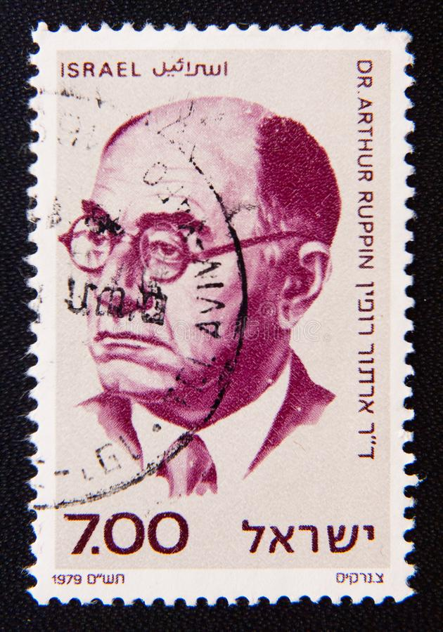 Uma Israel cerca das mostras pensador sionista e do líder, Arthur Ruppin fotografia de stock